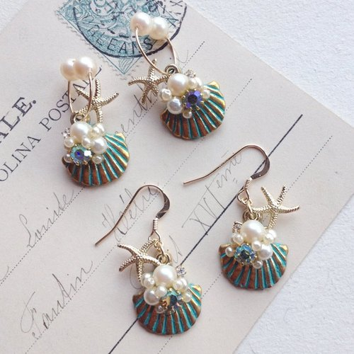 14kgf Vintage Pearl and Shell Charm Earrings OR Nonhorupiasu [ii-389]