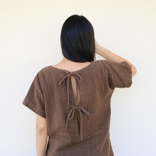 Ebony Bow Back Dress, Hand weaving dyed with natural colour