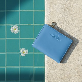 PEONY - MINIMAL SOFT COW LEATHER FROM ITALY SMALL WALLET/ COIN PURSE-BLUE
