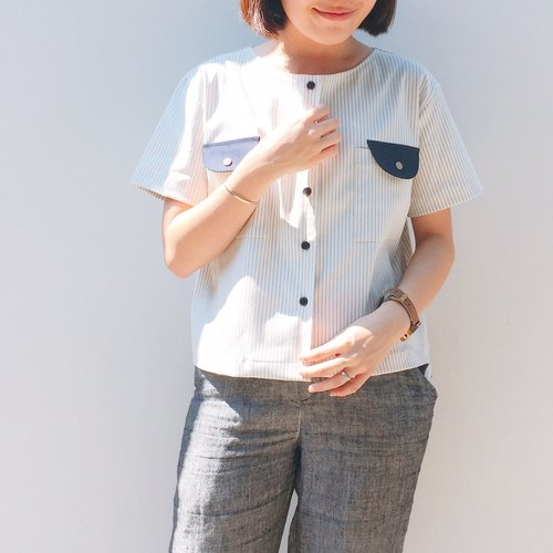Tom Beary Shirt : Stripe with navy pockets