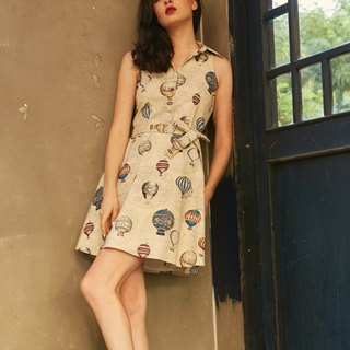Vintage Retro Dress Cotton Canvas Balloon Dress Sleeveless Shirt Dress Sundress