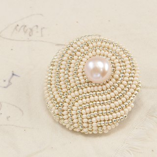 statement and sparkle beaded circle brooch, pearl brooch, vortex brooch , No.1