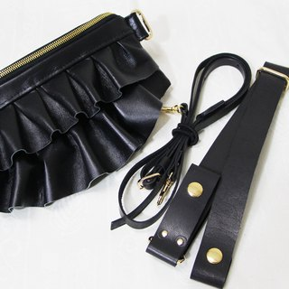 GENUINE LEATHER Mini Gathered Waist Purse / Fanny Pack / Sling Bag / Clutch Bag