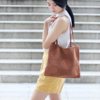 Crochet Polka Dot Tote Bag | Coral