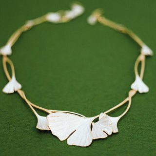 Gingko necklace - elegant dress necklace - gold and silver - allergy free
