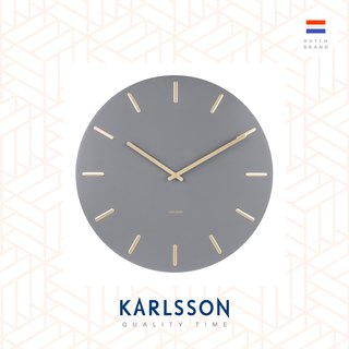 (预售)Karlsson Wall clock Charm steel grey with gold battons
