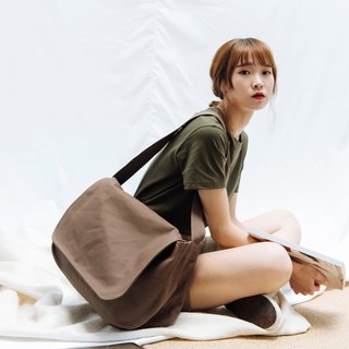 hao Khaki Brown Messenger Bag 卡其棕帆布邮差包