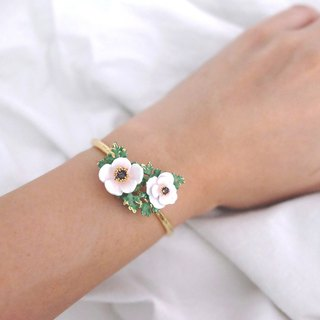 Anemone Bangle White , Flower Ring , Anemone flower.