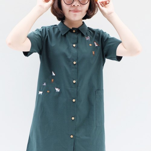 Shirt Dress - cat story ( Green Color )