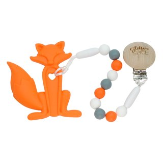 100% food grade silicone baby teether toy with clip - Orange Foxy