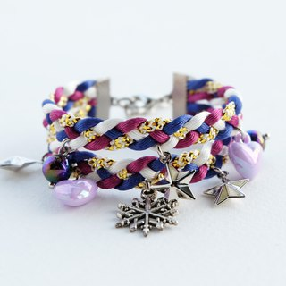 Multicolors double-layered bracelet with snowflake star and heart charms