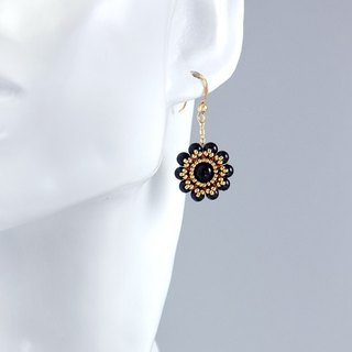 Black onyx flower earrings, chic jewelry, black chalcedony, present, 150-338