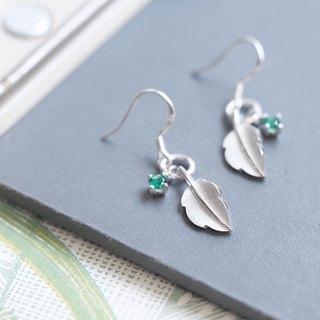Emerald leaf hook earrings silver 925