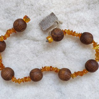 Wood Oak Beads & Baltic Amber Handcrafted Folk Art Unisex Necklace