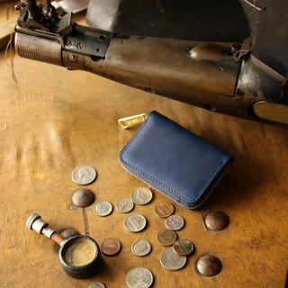 Japan Manufacturers banknote packaging cow skin deep indigo made in JAPAN handmade leather wallet coincase
