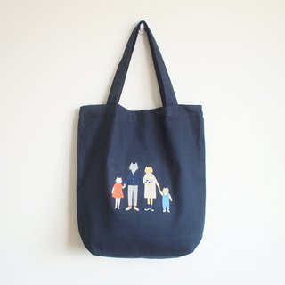 cat family tote bag : navy