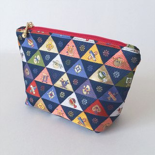 "Cosmetic bag with Japanese Traditional Pattern, Kimono ""Brocade"""