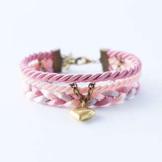 Brass heart wrap bracelet in dusty pink / peach / light gray