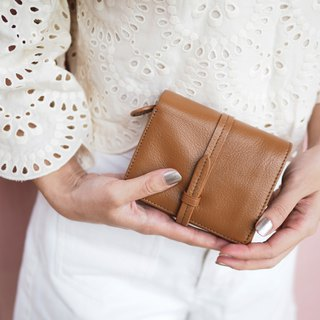 Charlotte: Mini wallet, Leather wallet, Brown wallet, folded wallet