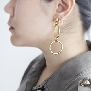 Double Hoop Earrings, Dangle Hoop Earrings, Gold Hoop Earrings, Geometric Hoop Earrings, Circle Earrings,