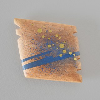 Abstract Vanity Hand Mirror (blue and gold) thinking