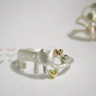 meow that found out the hearts ( cat heart sterling silver ring 貓 猫 心 指杯 銀 )