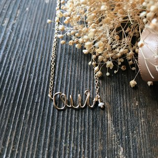 "[Necklace] Freshwater Pearl + 14KGF Message Necklace ""Oui"" / OuiN01"