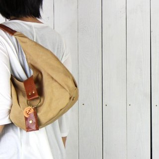 polta mini - tanned tanned leather canvas × leather bag