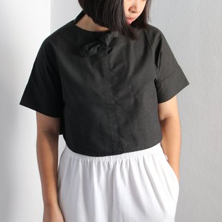 MUSUME CROP : cotton dark grey