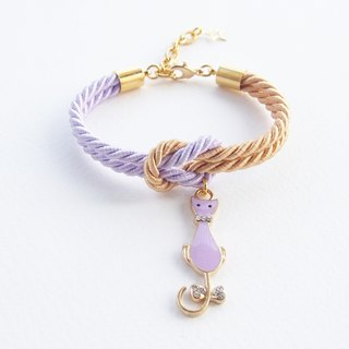 Lilac and gold knot rope bracelet with purple kitten charm