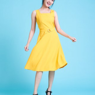 A line mix swing Dress Party Dress Yellow Dress Vintage Dress Summer Casual