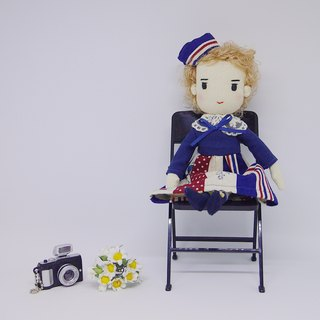 Handmade Doll- Curly Hair Girl in the Navy