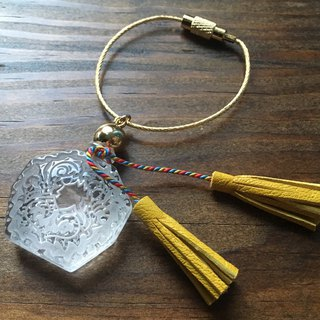 Vintage glass and French goat leather tassel bag charm crystal