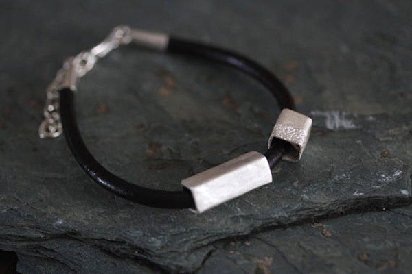 Leather bracelet with 2 handmade silver square-profile tube beads with textured surface (B0067A)