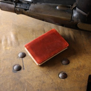 Japan Manufacturer's cowhide name one-sided name piece ◈ 紅 紅 作 in JAPAN handmade leather card case