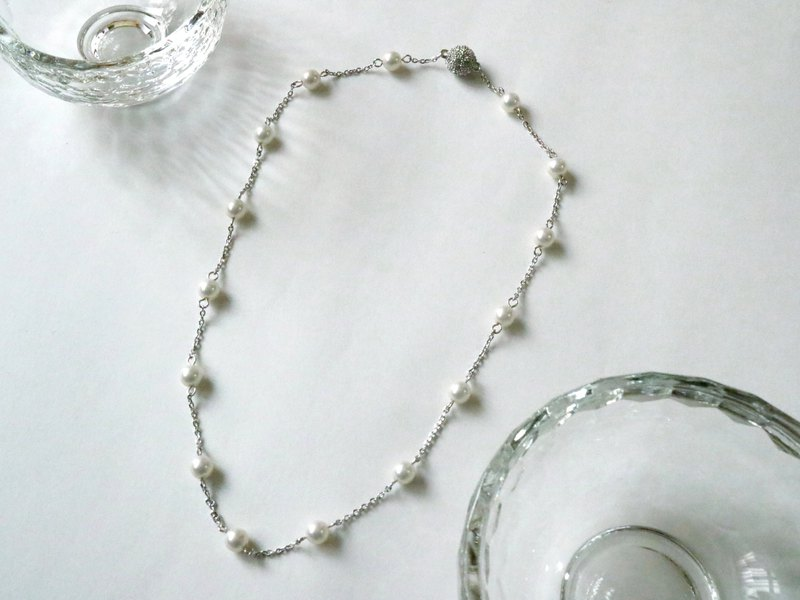 Daily Working Pearl Necklace Sold separately Simple Everyday Use Daily White White Station Necklace Artificial Pearl Resin Pearl Magnet Clasp