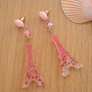Pink Transparent Eiffel Earrings in Pierce and Clip-on Decor with Star Glitter