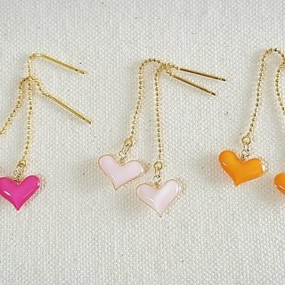 pastel mini heart pierced earrings or clip-on earrings ・pink, baby pink, orange
