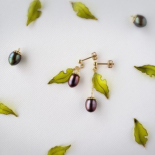 acorn & worm-eaten leaf pierced or clip-on earrings