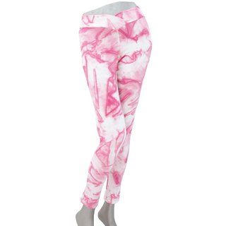 Superb comfort! Uneven dyed stretch leggings Long Pants <Pink>