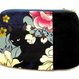 Black cat's Japanese pattern flat pouch * Blue C