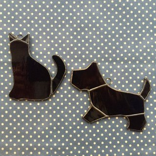 Stained glass sun catcher chien et chat Purushan Blue