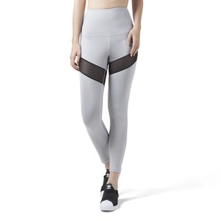 Engage High Waist leggings in light grey / black mesh.