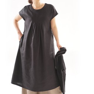 linen dress / kimono sleeve / tuck /loose fitted dress / black