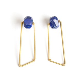 多边形青金石耳针 Lazurite polygon earrings