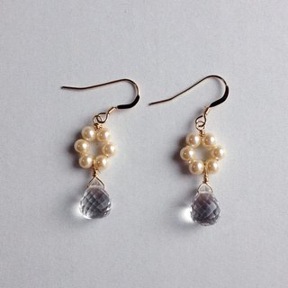 14 kgf Crystal AAA and Vintage Pearl Flower Drop Earrings Ear needle