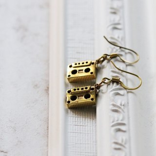 Tape Cassette Wire Earrings / Linen Jewelry / Brass Earrings / Earrings / Designed Jewelry.