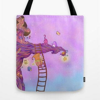 The Starkeeper Tote Bag - Tote bag, canvas bag, reusable bag,shoulder bag, cute bag, illustration, dreamy, colourful, stars, tree, climbing tree
