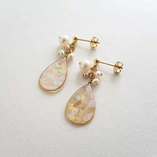 mosaic drop & freshwater pearl pierced or clip-on earrings (peach)