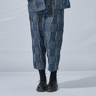 DYCTEAM - Plaid Jacquard Pants 丹宁缇花3D格纹八分裤